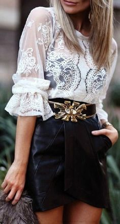 Gorgeous leather and lace. Fashion Mode, Look Fashion, Fashion Beauty, Womens Fashion, Fashion Trends, Street Fashion, Fashion Clothes, Trendy Fashion, High Fashion