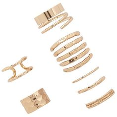Forever21 Caged Midi Ring Set ($6.90) ❤ liked on Polyvore featuring jewelry, rings, accessories, gold, forever 21 rings, gold midi rings, band rings, yellow gold rings and gold mid finger rings