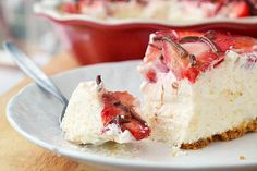 Strawberries and Cream Pie -- this should be great without the crust and made in little clear cups/bowls for individual portions or pipe the filling directly into jumbo, hulled strawberries for pretty strawberry cheesecake bites