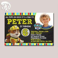 PAW Patrol - Rubble Chalkboard Invitation Birthday Party Card Digital Invitation  $9.19 USD