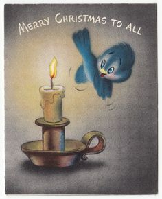 Vintage Greeting Card Christmas Blue Bird Hallmark r109