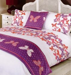 Maisie Duvet Cover and Runner Set featuring a Butterfly Theme. With Butterflies at the top of the Duvet Cover, this Bedding Set comes complete with Matching Pillowcases and contrasting colours on the Matching Cushion Cover and Runner.  from £21.99