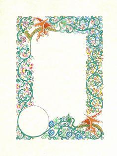 Double Dragon Flowers by dkpalmer.deviantart.com on @deviantART Illuminated Letters, Illuminated Manuscript, Design Editorial, Stencil Decor, Illumination Art, Sunflower Wallpaper, Hello Kitty Wallpaper, Book Of Hours, Borders And Frames
