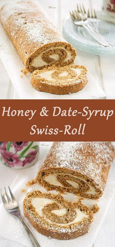 Honey & Date-Syrup Swiss-Roll, filled with honey-lemon cream-cheese Wonderful combination of flavors. Perfect for any occasion.