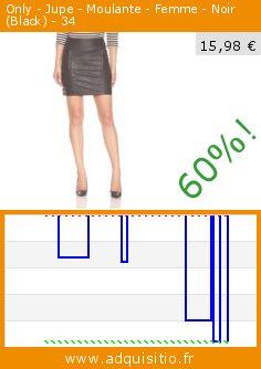 Only - Jupe - Moulante - Femme - Noir (Black) - 34 (Vêtements). Réduction de 60%! Prix actuel 15,98 €, l'ancien prix était de 39,95 €. http://www.adquisitio.fr/only/jupe-moulante-femme-noir-0