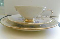Vntg Remic Qualitats Porzelian 3 pc Teacup Saucer Dessert Plate Set Pink Mums #Remic