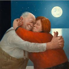 Full Love - Marius van Dokkum, Dutch Artist and Illustrator Photo Humour, Growing Old Together, Old Folks, Dutch Painters, Young At Heart, Dutch Artists, Naive Art, Figure Painting, Getting Old