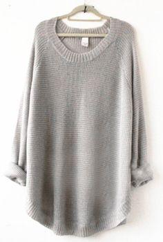 Grey+Long+Sleeve+Loose+Sweater+US$32.50