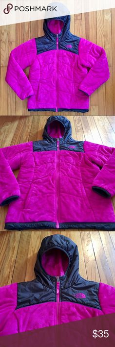Girls Size 14/16 The North Face Reversible Jacket Excellent Used Condition! Great winter coat!! Plush on one side and slick on the other - reversible wear. Front pockets. Hood. The North Face Jackets & Coats