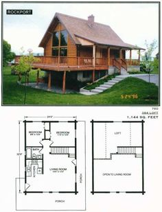 Make the kitchen bigger and turn the loft into the master bedroom Cabin House Plans, Cabin Floor Plans, Tiny House Cabin, Small House Plans, Tiny Log Cabins, Log Cabin Homes, Cabins And Cottages, A Frame House, Cottage Plan