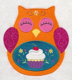 Orange Spring bright summer cupcake owl  fabric sewing quilt block square