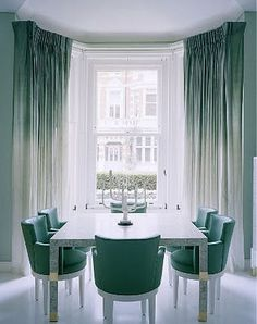 Home Design and Decor , Interior Bay Window Design Ideas : Bay Window Design With Double Hung Windows And Ombre Curtains Ombre Curtains, Green Curtains, Dip Dye Curtains, Ombre Walls, Silk Curtains, White Curtains, Shower Curtains, Drapery, Decorating Rooms