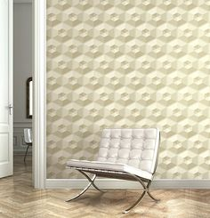 3D wallpaper in a cream tile effect