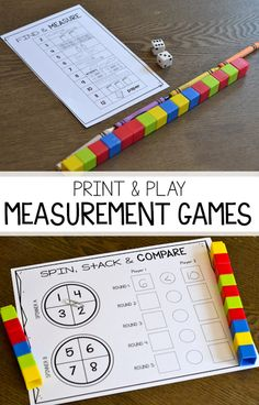 Looking for no prep activities for students to practice nonstandard and standard measurement? These black and white math games are perfect for students to compare and order lengths and practice their measurement skills!