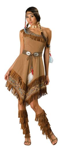 "FINALLY, a ladies ""Indian"" costume that is attractive, but not slutty. Though I'd still prefer both shoulders covered. It's COLD here in the fall!"