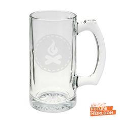 Campfire Badge  etched glass beer stein by BrightFutureHeirloom