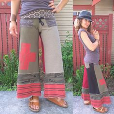 Cropped gaucho Eco PANTS SizeS/M patchwork pantseco by zasra, $90.00