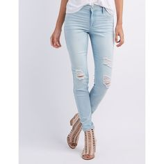 Refuge Skin Tight Legging Destroyed Jeans ($33) ❤ liked on Polyvore featuring jeans, light wash denim, high-waisted skinny jeans, destroyed skinny jeans, light wash skinny jeans, distressed skinny jeans and skinny jeans