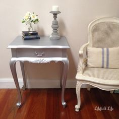 silver bed side table painted with metallic paint by Lilyfield Life