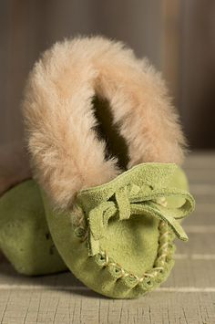 Baby's Sueded Leather Moccasin Booties with Shearling Lining by Overland Sheepskin Co. (style 54815)