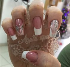Manicure Nail Designs, Nail Manicure, Pedicure, Nail Art Designs, French Acrylic Nails, Blue Acrylic Nails, French Nails, Bling Nails, My Nails