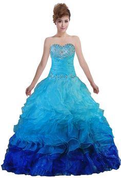 4f0efc75a9 ANTS Women s Sweetheart Organza Rainbow Quinceanera Dress Ball Gowns Size 8  US Blue
