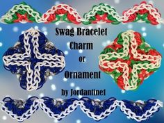 New Swag/Bracelet/Charm/Ornament Rainbow Loom/Monster Tail Christmas Cross Rainbow Loom Tutorials, Rainbow Loom Patterns, Rainbow Loom Bands, Rainbow Loom Bracelets, Christmas Swags, Christmas Cross, Monster Tail, Fun Loom, Loom Craft