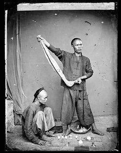 Street gamblers, Guangzhou, Guangdong 1868 – 71