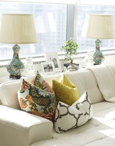 Southern Inspired: Sofa Table Inspiration, table behind sofa