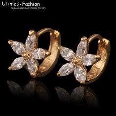 2016 New Fashion Women Stone Flower Earrings Hoop 18 Gold Plated Jewelry Design Earrings, Gold Earrings Designs, Ear Jewelry, Necklace Designs, Bridal Jewelry, Fine Jewelry, Antique Jewellery Online, Gold Ring Designs, Types Of Earrings