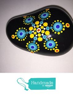 Hand Painted Mandala Stone #127 from Mafa Stones http://www.amazon.com...Beautiful colors of Spring!!