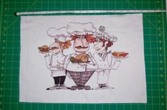 "Loralie Designs - NEW!!! Large Portrait Fabric Panel ""Chefs Three"" 12"" X 18"""