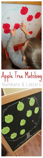 Apple-shaped Post-its can be used to practice skills for kids of all ages (in this case letter/number recognition for a preschooler and division facts for a 3rd grader). Apple Tree Matching at Relentlessly Fun, Deceptively Educational.