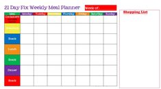 Meal Planner Template Meal Planner Template, Weekly Meal Planner, Shopping List Grocery, Calorie Counter, Lunch Snacks, 21 Day Fix, Better Together, Meals For The Week, Templates