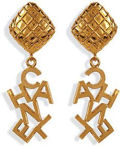 CHANEL VINTAGE JEWELRY Gold-Plated Word Drop Earrings  | More here: http://mylusciouslife.com/shopping-where-to-buy-new-and-genuine-vintage-chanel-items-online/