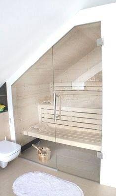 Badezimmer Ideen Mit Dachschrage Brautkleider Hochzeitsfrisuren Inneneinrichtungen Diamantmodelle 058 Bilder In 2020 Home Spa Room Sauna Room Sauna House
