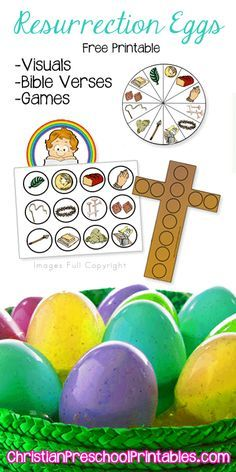Resurrection Egg Printables & Games: Lots of great preschool printables for more than just Easter Bible Crafts For Kids, Preschool Crafts, Easter Crafts, Vbs Crafts, Preschool Printables, Easter Ideas, Resurrection Day, Religion Catolica, Easter Story