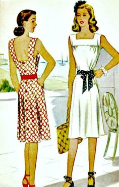 McCall 5955  World War II vintage sewing pattern for a lovely summer sundress with bodice gathered into square necked yolk on front and dipping