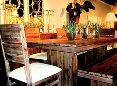 table, bench & chairs