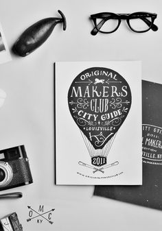 typography graphic design, black white, hand drawn, funny commercials, fonts, hot air balloons, cards, city guides, hand lettering