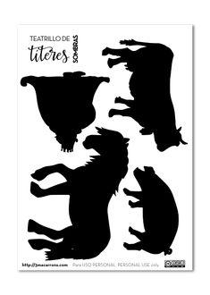 plantillas marionetas teatro de sombras Shadow Theatre, Animal Silhouette, Shadow Puppets, Drama, Clip Art, Kids, Crafts, Shadows, Special Education Activities