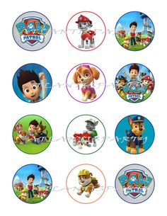 "INSTANT DOWNLOAd - PAW PATROL Digital 2"" Cupcake Toppers Favor Tags - Diy Printable - Ct024 on Etsy, $5.00"
