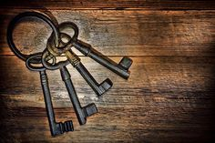 Photo about Antique and rusty medieval castle skeleton door keys with old corroded metal ring on antique weathered barn wood board planks. Image of barn, wood, dramatic - 23519789 Antique Keys, Vintage Keys, Heaven Images, Old Keys, Kingdom Of Heaven, Wood Stone, Zig Ziglar, Medieval Castle, Weathered Wood