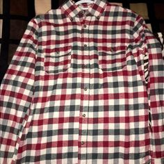 Merona Flannel red, green and tan checkered/stripped flannel. Merona Other