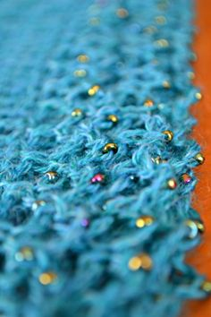 Crochet shawl beaded edge