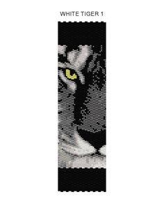 White Tiger 1 Peyote Bracelet Pattern Buy 2 by JewelryPatternsPlus