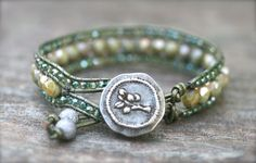 Sage Green Crystal Leather Wrap Cuff Handmade Bracelet