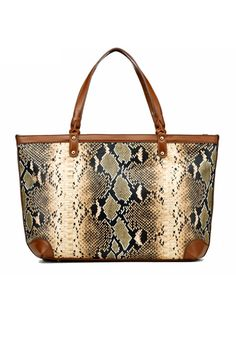 This handbag crafted in PU, featuring boa skin printing to the main, contrast colored edge, double handle, top zip closure, a pouch pocket.$78
