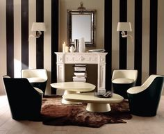 Stripes like this on the inside of the elevator. Black And White Living Room interior design ideas Victorian Interiors, Modern Victorian, Victorian Furniture, Victorian House, Victorian Decor, Interior Design Living Room, Living Room Designs, Living Rooms, Interior Door