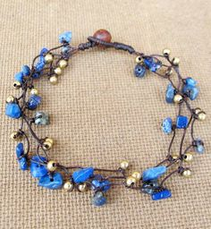 Nugget Lapis Lazuli Stone Anklet with Brass Bead